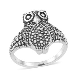 Thai Sterling Silver Owl Ring, Silver wt 5.11 Gms.