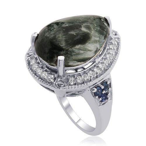 Siberian Seraphinite (Pear 8.00 Ct), Kanchanaburi Blue Sapphire, White Topaz and Diamond Ring in Platinum Overlay Sterling Silver 8.750 Ct.