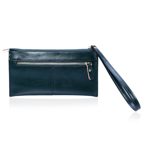 Grain Leather Green Colour Purse with External Zipper Pocket (Size 20.5x11 Cm)