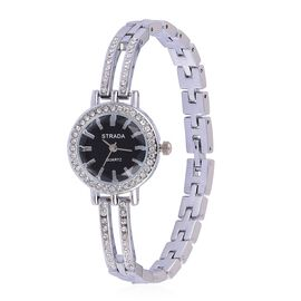STRADA Japanese Movement Black Colour Sunshine Pattern Dial with White Austrian Crystal Water Resistant Watch in Silver Tone with Stainless Steel Back and Chain Strap