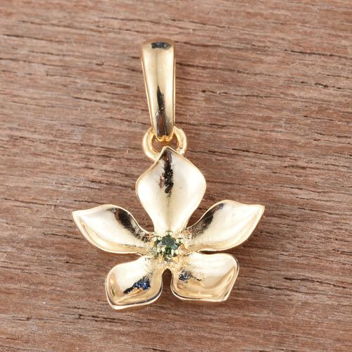 Kimberley Green Diamond (Rnd) Floral Pendant in 14K Gold Overlay Sterling Silver