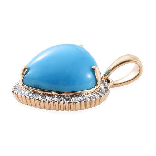 ILIANA 18K Yellow Gold 3.33 Ct AAAA Arizona Sleeping Beauty Turquoise Halo Heart Pendant with Diamond SI G-H