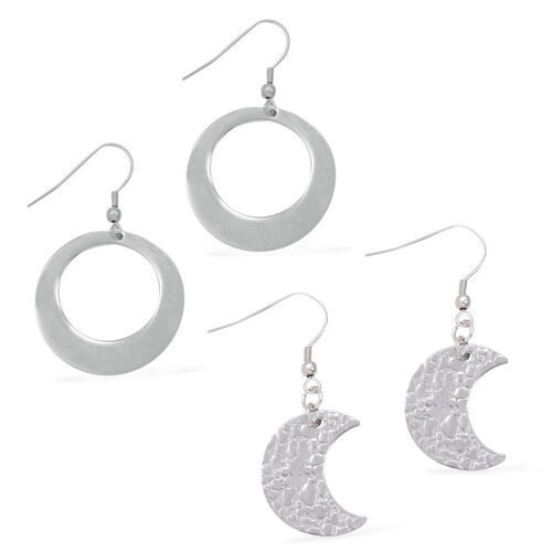 Set of 2 - Close Out Deal Stainless Steel Hook Earrings