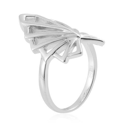 LucyQ Art Deco Ring in Rhodium Plated Sterling Silver 4.93 Gms.