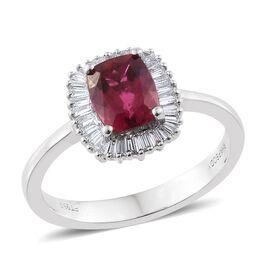 RHAPSODY 950 Platinum 1.50 Ct. AAAA Rubelite Cushion Halo Ring with Diamond VS/E-F
