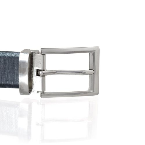 Genuine Leather Reversible Black and Brown Colour Mens Belt with Silver Tone Buckle (Size 48 inch)