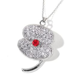 TJC Poppy Designs Red and White Austrian Crystal Brooch or Pendant with Chain (Size 20) in Silver Tone with Stainless Steel