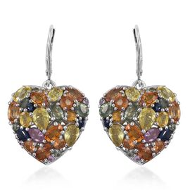 Orange Sapphire (Ovl), Green Sapphire, Yellow Sapphire, Kanchanaburi Blue Sapphire and Multi Gemstone Lever Back Heart Earrings in Platinum Overlay Sterling Silver 10.000 Ct.