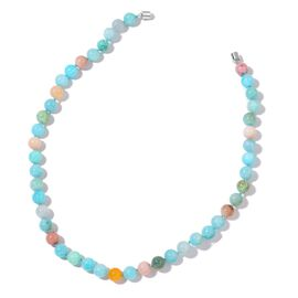 Rare AAA Russian Amazonite, Peruvian Pink Opal Beaded Necklace (Size 20) in Rhodium Plated Sterling Silver 295.000 Ct.