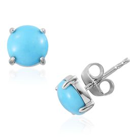 14K W Gold AA Arizona Sleeping Beauty Turquoise (Rnd) Stud Earrings (with Push Back) 2.000 Ct.