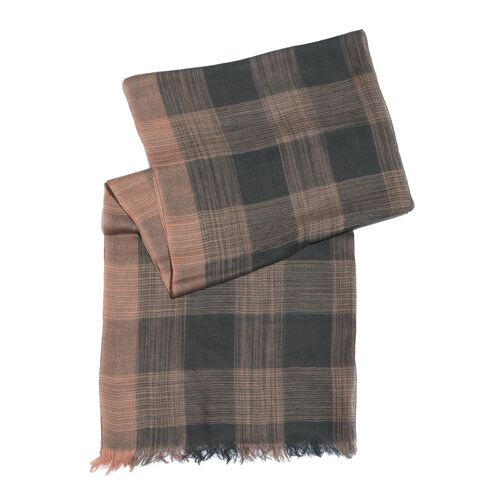 Limited Available-100% Merino Wool Checks Pattern Brown and Black Colour Scarf with Fringes (Size 180x70 Cm)