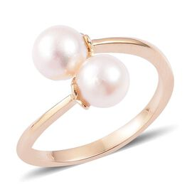 9K Y Gold Japanese Akoya Pearl (Rnd) Crossover Ring 5.750 Ct.
