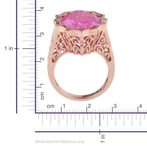 Hot Pink Crackled Quartz (Ovl) Ring in Rose Gold Overlay Sterling Silver 16.500 Ct.
