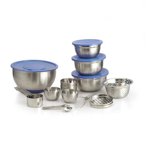 Kitchen Utensils - 1 Pc Splash Bowl, 3 Pcs Graters, 3 Pcs Mixing Bowls with Blue Lids, 4 Pcs Prep Bowls, 4 Pcs Measuring Cups, 4 Pcs Measuring Spoons, 1 Pc Whisk and 1 Pc Colander in Stainless Steel