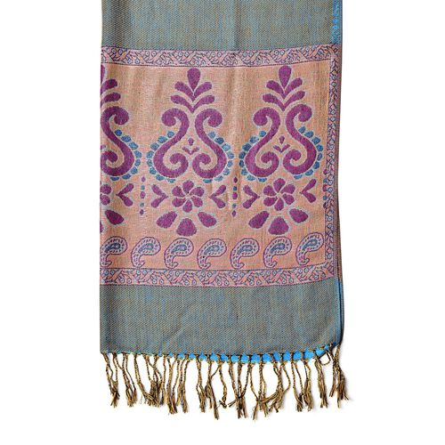 Blue, Purple and Multi Colour Floral and Paisley Motif Scarf with Tassels (Size 170X70 Cm)