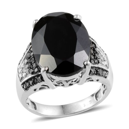 Boi Ploi Black Spinel (Ovl 10.25 Ct), Black Diamond and Diamond Ring in Platinum Overlay Sterling Silver 10.450 Ct.
