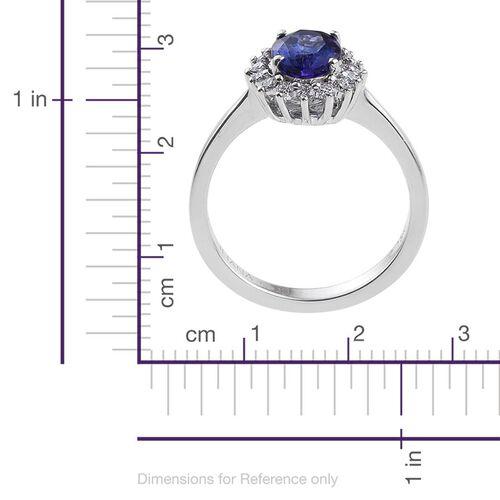 ILIANA 18K White Gold 1.50 Carat AAA Tanzanite Oval, Diamond SI G-H Engagement Ring.