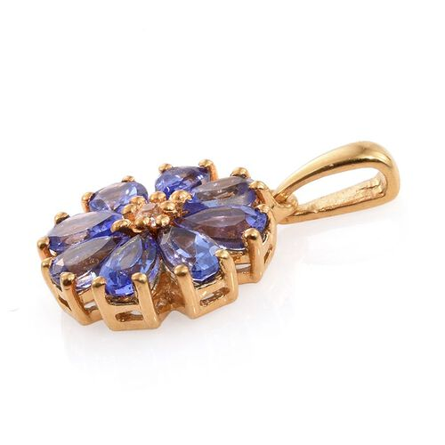 Tanzanite (Pear), Natural Cambodian Zircon Floral Pendant in 14K Gold Overlay Sterling Silver 1.750 Ct.