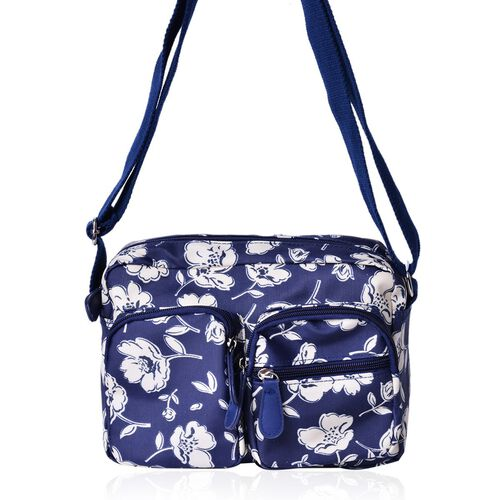 Floral Pattern Navy and Cream Colour Crossbody Bag with External Zipper Pocket and Adjustable Shoulder Strap (Size 23X18.5X7.5 Cm)
