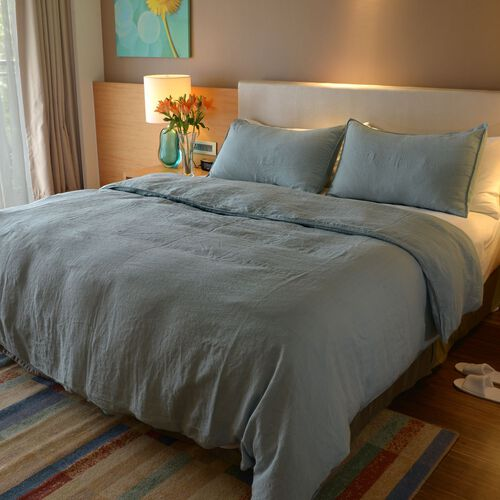 100% Linen Stone Washed Crystal Blue Colour King Size Duvet Cover (Size 225x220 Cm) and Two Pillow Cases (Size 75x50 Cm)