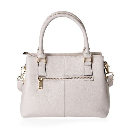 Limited Edition-Designer Inspired- Genuine Leather Butterfly Charm Off White Colour Handbag with External Zipper Pocket and Adjustable and Removable Shoulder Strap (Size 30X23.5X11 Cm)