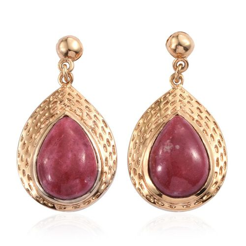 Norwegian Thulite (Pear) Earrings in 14K Gold Overlay Sterling Silver 12.000 Ct.
