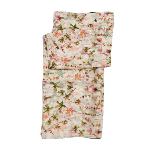100% Mulberry Silk Multi Colour Floral Pattern White Colour Pareo (Size 180x100 Cm)