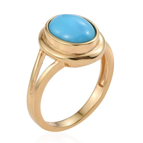 Arizona Sleeping Beauty Turquoise (Ovl) Solitaire Ring in 14K Gold Overlay Sterling Silver 2.000 Ct.