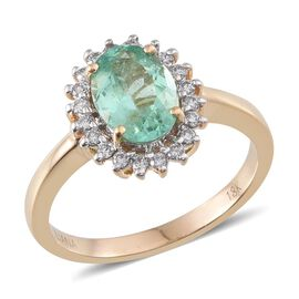 ILIANA 18K Y Gold Boyaca Colombian Emerald (Ovl 1.80 Ct), Diamond Ring 2.150 Ct.