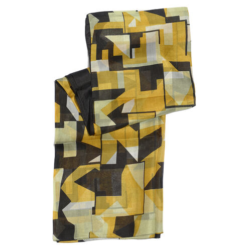 100% Mulberry Silk Yellow and Black Colour Abstract Pattern Cream Colour Scarf (Size 175x100 Cm)