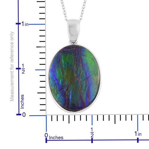 AA Canadian Ammolite (Ovl) Solitaire Pendant With Chain in Rhodium and Platinum Overlay Sterling Silver 8.000 Ct.