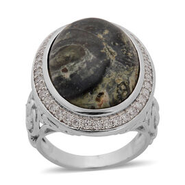 Kambaba Jasper (Ovl 14.00 Ct), Simulated White Diamond Ring in Silver Tone 17.000 Ct.
