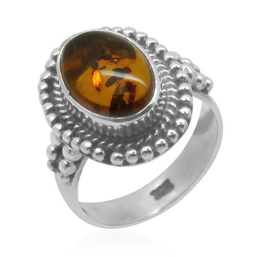 Royal Bali Collection Baltic Amber (Ovl) Solitaire Ring in Sterling Silver 1.370 Ct.