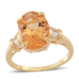 Brazilian AAA Citrine (Ovl 5.00 Ct), White Topaz Ring in 14K Gold Overlay Sterling Silver 6.000 Ct.