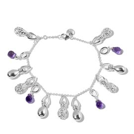RACHEL GALLEY Bolivian Amethyst Bracelet (Size 7 with 1 inch Extender) in Sterling Silver , Silver wt 26.52 Gms.