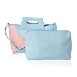 Set of 2 - Light Pink and Light Blue Colour Large Tote (Size 40x20x10 Cm) with Light Blue Colour Small Clutch Bag (Size 25x15 Cm)