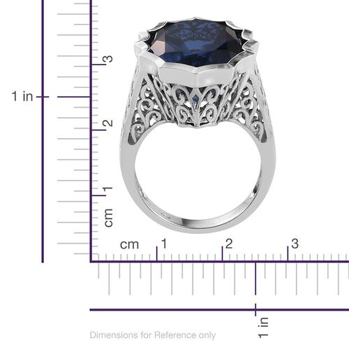 Ceylon Colour Quartz (Ovl) Ring in Platinum Overlay Sterling Silver 18.000 Ct.