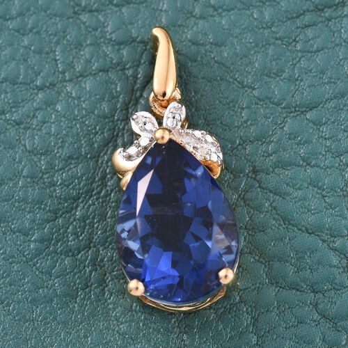 Ceylon Colour Quartz (Pear 5.75 Ct), Diamond Pendant in 14K Gold Overlay Sterling Silver 5.760 Ct.