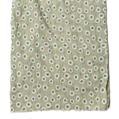 Green and White Colour Floral Pattern Scarf (Size 170x66 Cm)