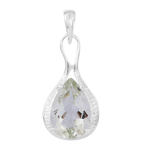 Green Amethyst (Pear) Solitaire Pendant in Sterling Silver 2.500 Ct.