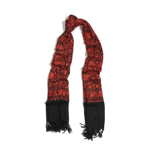 100% Merino Wool Red Colour Flowers Cashmere Hand Embroidered Shawl (Size 180x70 Cm)