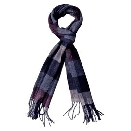 Made with Very Rare 80% Natural Baby Alpaca Wool -Grey Colour Check Pattern Scarf (Size 180x30 Cm)