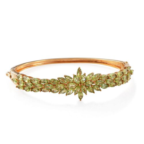 Designer Inspired-Hebei Peridot (Mrq) Bangle (Size 7.5) in 14K Gold Overlay Sterling Silver 11.000 Ct. Silver wt 20.00 Gms.