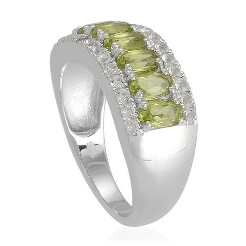 Hebei Peridot (Ovl), White Topaz Ring in Platinum Overlay Sterling Silver 2.000 Ct.