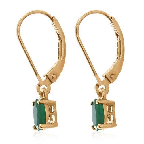 Zambian Emerald 1 Carat Silver Lever Back Earrings in Gold Overlay