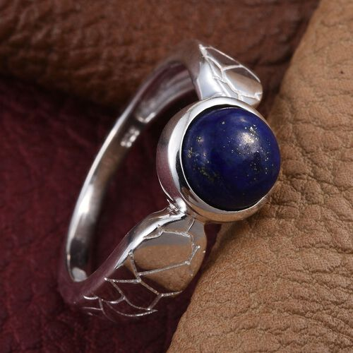 Lapis Lazuli (Rnd) Solitaire Ring in Sterling Silver 2.500 Ct.
