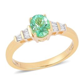 ILIANA 18K Y Gold AAA Boyaca Colombian Emerald (Ovl 1.00 Ct), Diamond (SI/G-H) Ring 1.090 Ct.