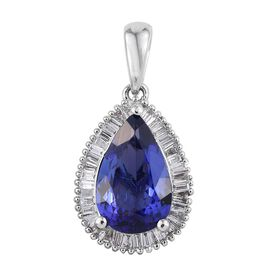 RHAPSODY 950 Platinum 2.90 Carat AAAA Tanzanite Pear, Diamond VS E-F Pendant.