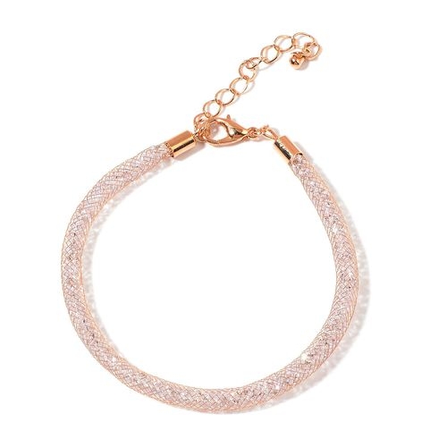 White Austrian Crystal Bracelet (Size 7.5 with 1.5 inch Extender) in Rose Gold Tone