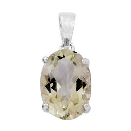 Green Amethyst (Ovl) Solitaire Pendant in Sterling Silver 5.750 Ct.